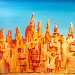 Ciudad II. Acrílico y óleo sobre lienzo 100 x 81 cm. 2000