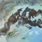 Azul sobre azul. Acrílico y óleo sobre lienzo 73 x 100 cm. 2007