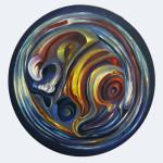 Sin título. Acrílico y óleo sobre lienzo. 47 cm de diámetro. 2014